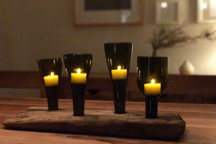 Wie aus Weinflaschen und Treibholz ein Advents-Objekt wird #DIY #Upcycling